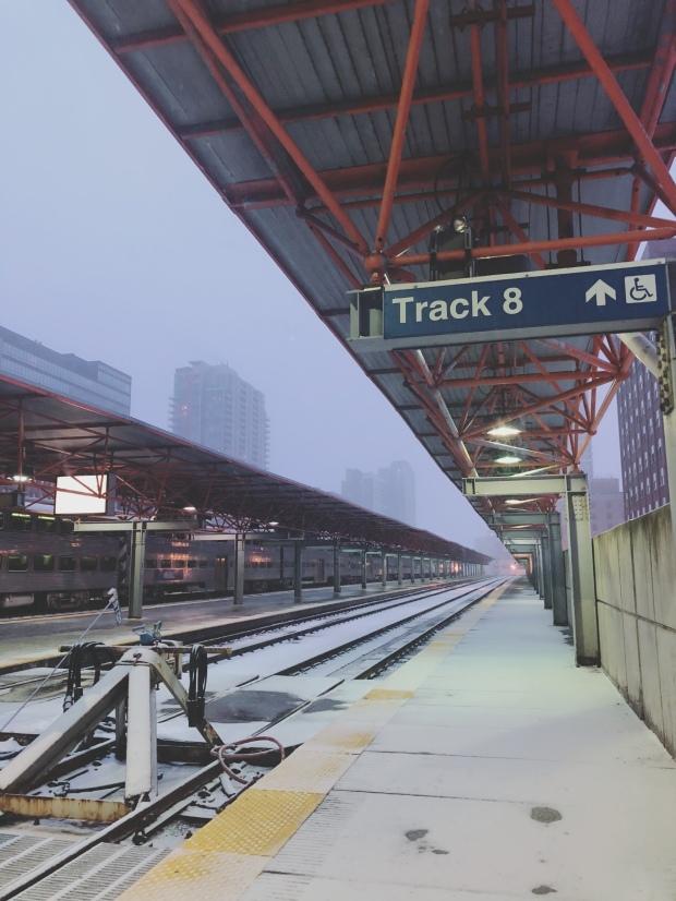 Chicago train station blizzard